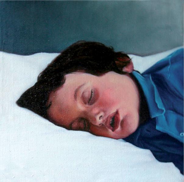 « Moi, dormant « , 40 x 40 cm, Huile sur toile 2006