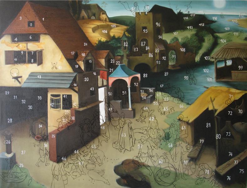 « Les proverbes flamands », Huile/toile 97 x 128 cm 2008
