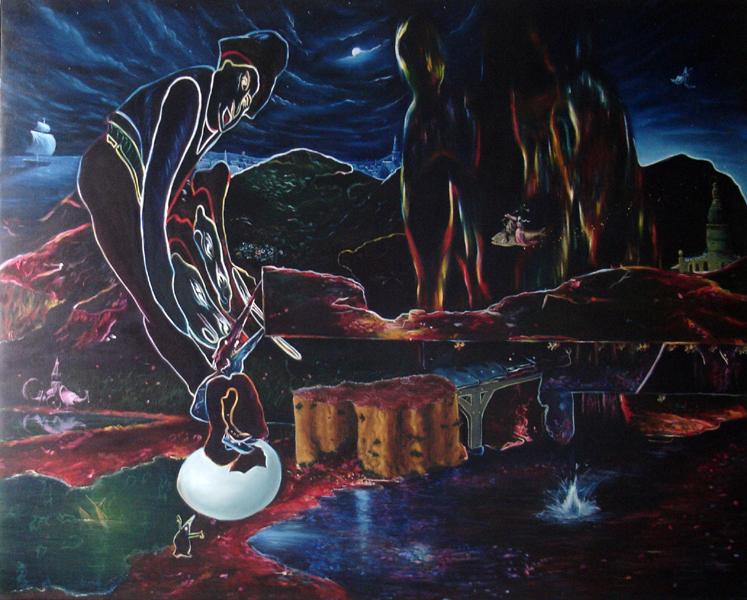 """""""Le grand bleu"""" Huile/toile 162 x 130 cm 2008"""