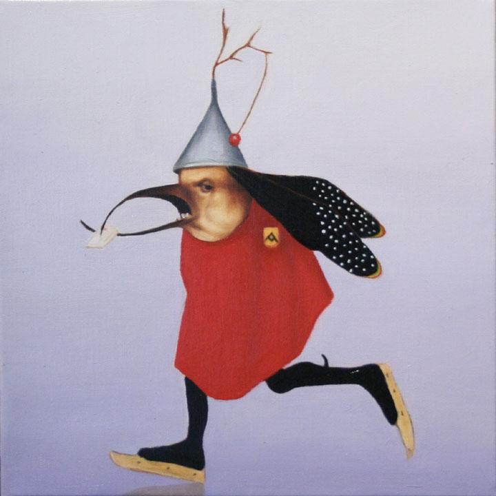 « Le messager du diable », série 1 (I) 2009 Huile/toile 30 x 30 cm 2009