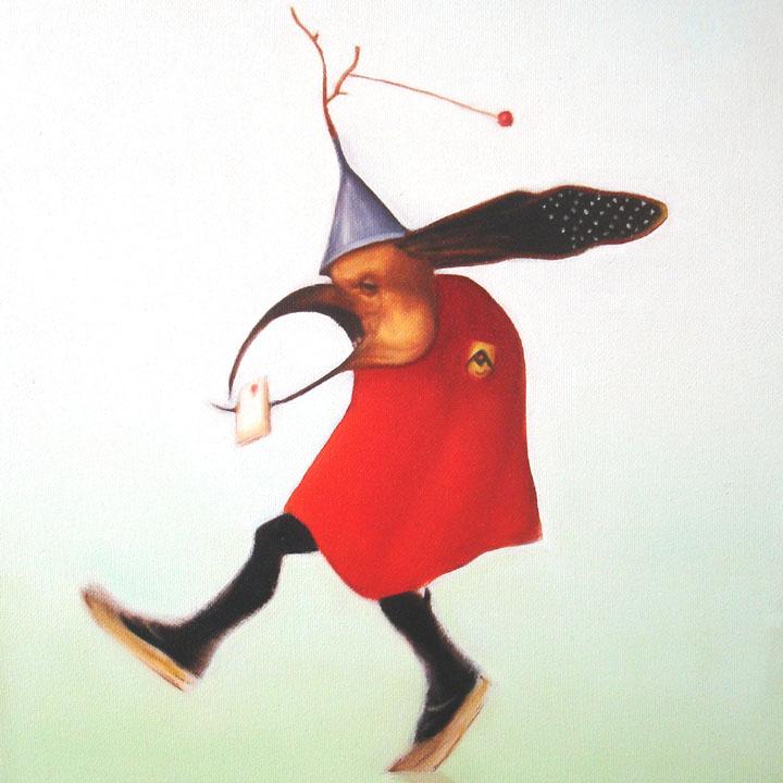 « Le messager du diable », série 1 (X) 2009 Huile/toile 30 x 30 cm 2009
