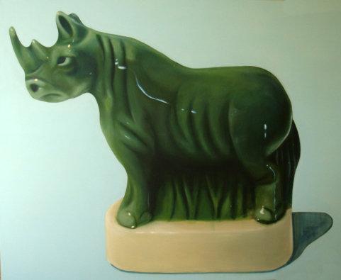 """""""Fève rhinocéros"""", 152/130cm, acrylique sur toile 2009"""