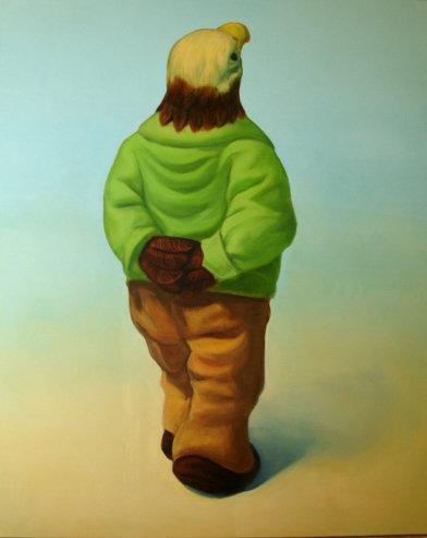 """""""Promeneur en bois"""", 130/152cm, acrylique sur toile 2009"""