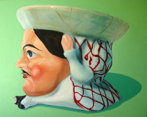 """""""Tête cendrier en porcelaine"""", 152/130cm, acrylique sur toile 2009"""