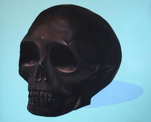 """""""Crâne en lave du Vésuve"""", 152/130cm, acrylique sur toile 2009"""